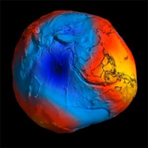 Colour coded Geoid
