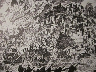 Painting depicting the destruction caused by a Tsunami