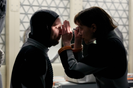 Amelie Durand (Clementine Poidatz), the mission physician, looks at Ben Sawyer (Ben Cotton). The global event series MARS premieres on the National Geographic Channel in November 2016. (photo credit: National Geographic Channels/Robert Viglasky) The global event series MARS premieres on the National Geographic Channel in November 2016. (photo credit: National Geographic Channels/Robert Viglasky)