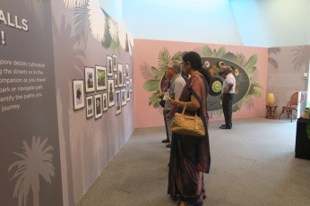 Guests – busy purchasing the book, getting it signed andchecking out the exotic palmsmini exhibition