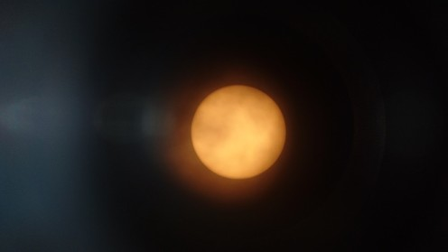 View of the sun through the solar telescope.